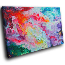 AB1643A Framed Canvas Print Colourful Modern Abstract Wall Art - red blue textured paint-Canvas Print-WhatsOnYourWall