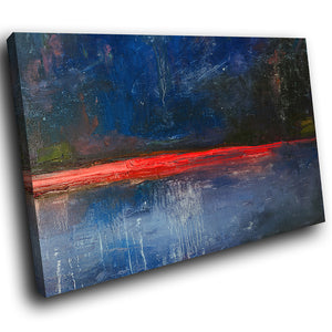 AB1649A Framed Canvas Print Colourful Modern Abstract Wall Art -  blue red minimalist paint - WhatsOnYourWall