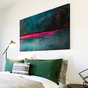 AB1650A Framed Canvas Print Colourful Modern Abstract Wall Art - blue pink minimalist paint-Canvas Print-WhatsOnYourWall