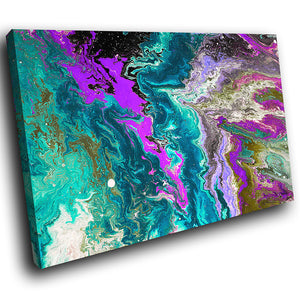AB1653A Framed Canvas Print Colourful Modern Abstract Wall Art - pink blue textured paint-Canvas Print-WhatsOnYourWall