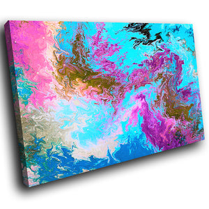 AB1654A Framed Canvas Print Colourful Modern Abstract Wall Art - blue pink textured paint-Canvas Print-WhatsOnYourWall