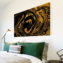AB1658A Framed Canvas Print Colourful Modern Abstract Wall Art -  yellow black paint swirl - WhatsOnYourWall
