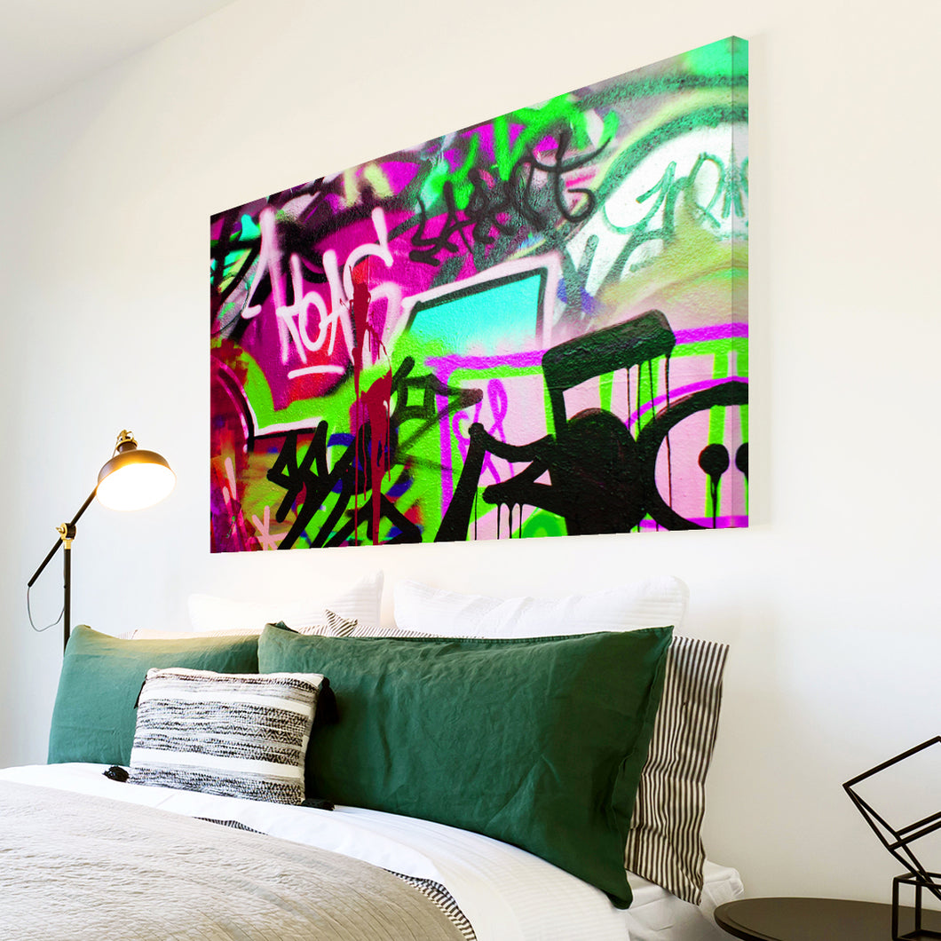 AB165 Framed Canvas Print Colourful Modern Abstract Wall Art - Green Pink Graffiti-Canvas Print-WhatsOnYourWall