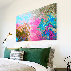 AB1661A Framed Canvas Print Colourful Modern Abstract Wall Art - pink blue textured paint-Canvas Print-WhatsOnYourWall