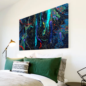 AB1664A Framed Canvas Print Colourful Modern Abstract Wall Art -  black blue red paint drip - WhatsOnYourWall