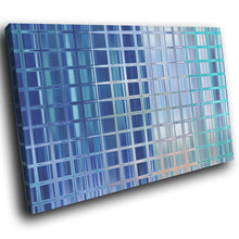 AB1667A Framed Canvas Print Colourful Modern Abstract Wall Art -  blue square pattern - WhatsOnYourWall