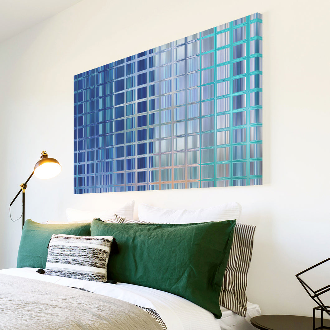 AB1667A Framed Canvas Print Colourful Modern Abstract Wall Art - blue square pattern-Canvas Print-WhatsOnYourWall