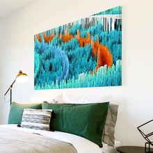 AB1668A Framed Canvas Print Colourful Modern Abstract Wall Art - blue orange 3d-Canvas Print-WhatsOnYourWall