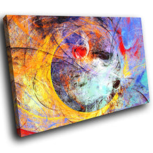 AB1669A Framed Canvas Print Colourful Modern Abstract Wall Art - yellow blue paint effect-Canvas Print-WhatsOnYourWall