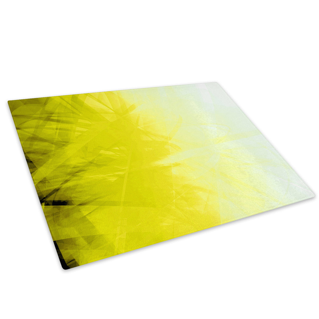 Yellow Black Swirls Glass Chopping Board Kitchen Worktop Saver Protector - AB166-Abstract Chopping Board-WhatsOnYourWall