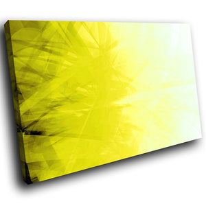 AB166 Framed Canvas Print Colourful Modern Abstract Wall Art -  Yellow Black Swirls
