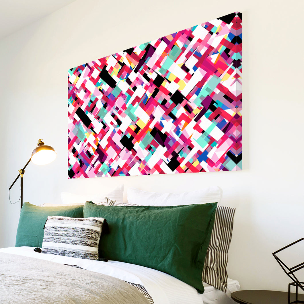 AB1676A Framed Canvas Print Colourful Modern Abstract Wall Art - pink geometric-Canvas Print-WhatsOnYourWall
