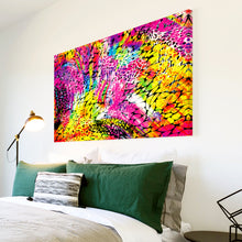 AB1677A Framed Canvas Print Colourful Modern Abstract Wall Art - yellow pink-Canvas Print-WhatsOnYourWall