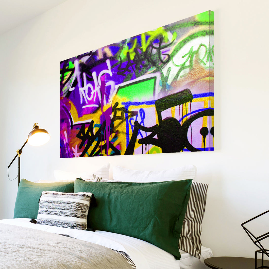 AB167 Framed Canvas Print Colourful Modern Abstract Wall Art - Purple Green Graffiti-Canvas Print-WhatsOnYourWall