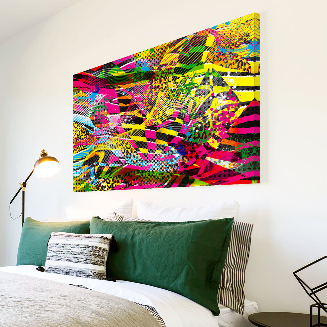 AB1680A Framed Canvas Print Colourful Modern Abstract Wall Art - yellow pink pop-Canvas Print-WhatsOnYourWall