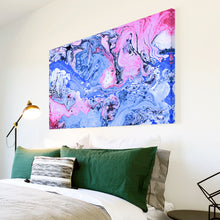 AB1683A Framed Canvas Print Colourful Modern Abstract Wall Art - blue pink paint swirl-Canvas Print-WhatsOnYourWall