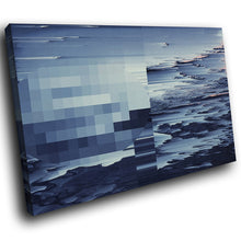 AB1685A Framed Canvas Print Colourful Modern Abstract Wall Art - blue sea glitch effect-Canvas Print-WhatsOnYourWall