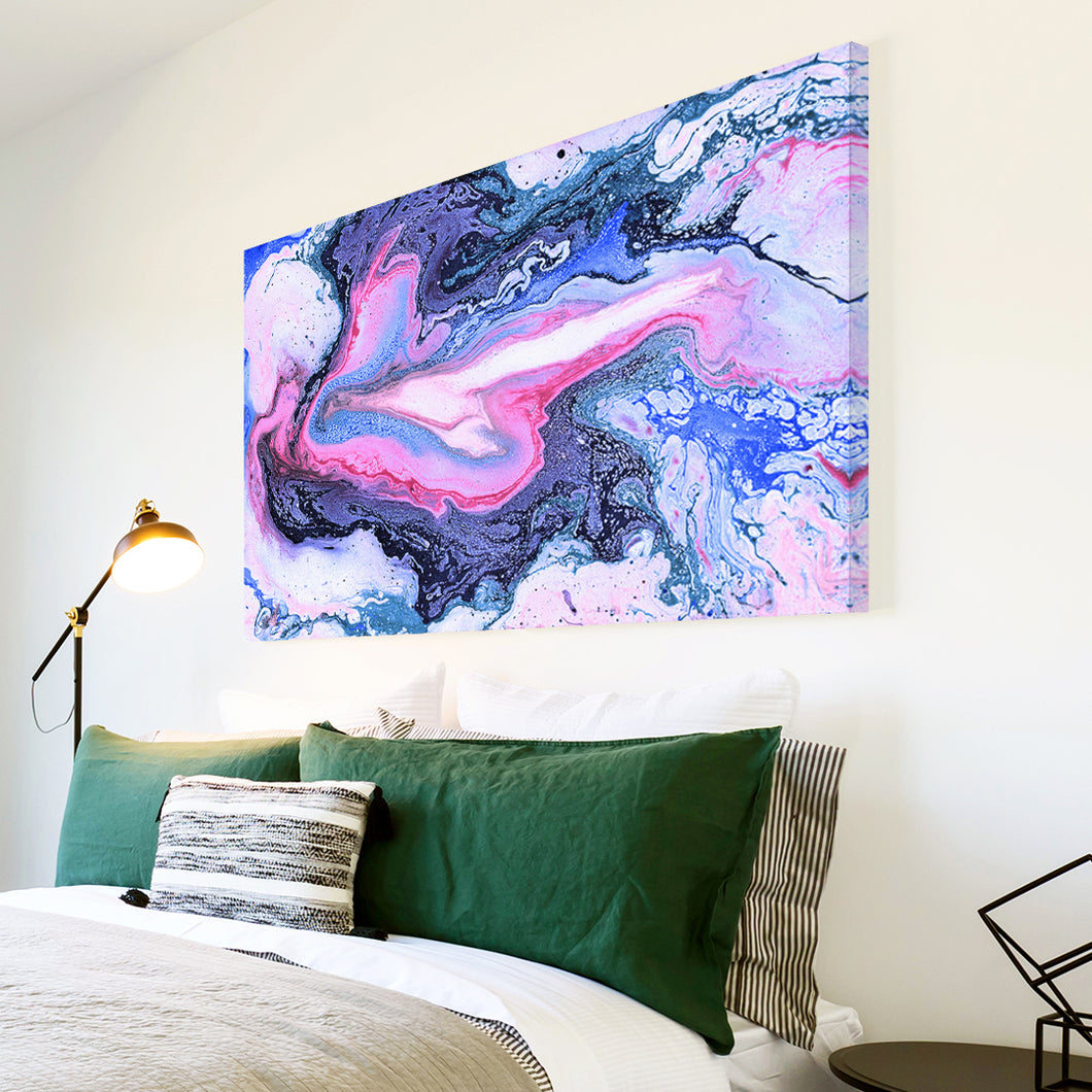 AB1686A Framed Canvas Print Colourful Modern Abstract Wall Art - blue pink paint swirl-Canvas Print-WhatsOnYourWall