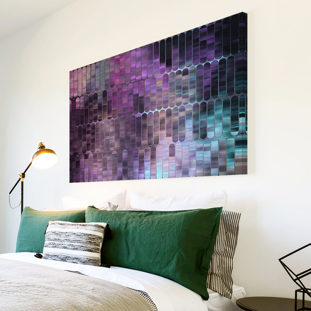 AB1687A Framed Canvas Print Colourful Modern Abstract Wall Art - purple geometric pattern-Canvas Print-WhatsOnYourWall