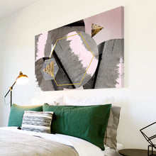 AB1689A Framed Canvas Print Colourful Modern Abstract Wall Art -  grey golden line - WhatsOnYourWall