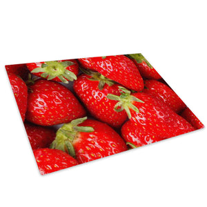 Red Strawberry Fruit Glass Chopping Board Kitchen Worktop Saver Protector - AB168-Abstract Chopping Board-WhatsOnYourWall