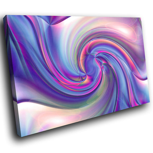 AB1691A Framed Canvas Print Colourful Modern Abstract Wall Art - blue pink swirl effect-Canvas Print-WhatsOnYourWall