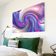 AB1691A Framed Canvas Print Colourful Modern Abstract Wall Art -  blue pink swirl effect - WhatsOnYourWall