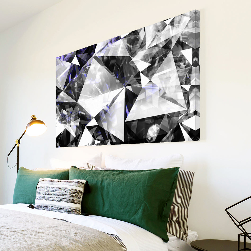 AB1692A Framed Canvas Print Colourful Modern Abstract Wall Art -  black and white Diamond Pattern - WhatsOnYourWall