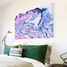 AB1693A Framed Canvas Print Colourful Modern Abstract Wall Art - pink blue paint swirl-Canvas Print-WhatsOnYourWall
