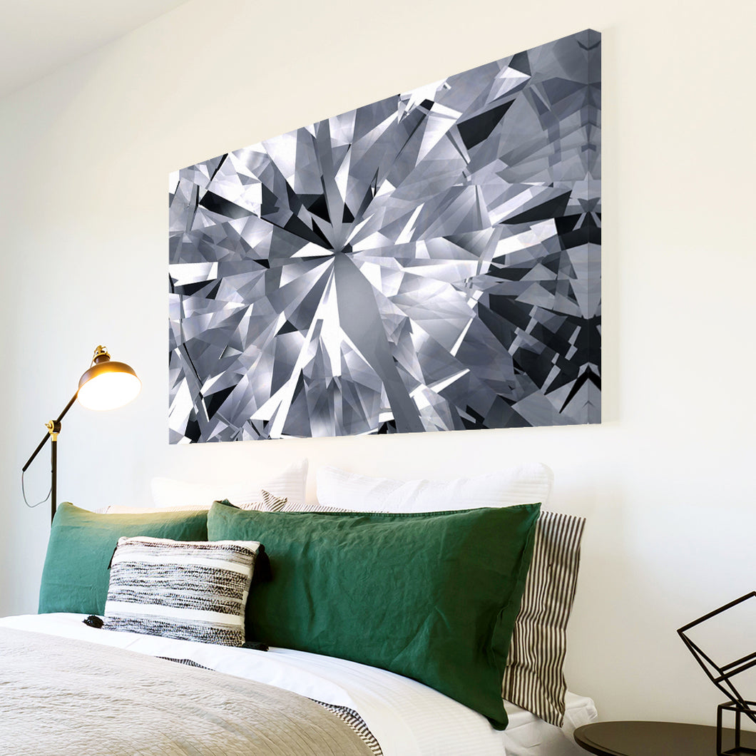 AB1695A Framed Canvas Print Colourful Modern Abstract Wall Art - grey black white Diamond Pattern-Canvas Print-WhatsOnYourWall