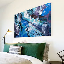 AB1697A Framed Canvas Print Colourful Modern Abstract Wall Art - blue grunge paint-Canvas Print-WhatsOnYourWall
