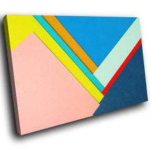 AB1698A Framed Canvas Print Colourful Modern Abstract Wall Art -   blue pink yellow - WhatsOnYourWall