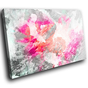 AB1699A Framed Canvas Print Colourful Modern Abstract Wall Art - pink grey grunge paint-Canvas Print-WhatsOnYourWall