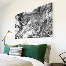 AB1700A Framed Canvas Print Colourful Modern Abstract Wall Art - black white grey paint-Canvas Print-WhatsOnYourWall