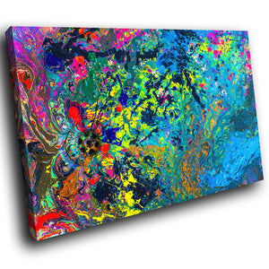 AB1701A Framed Canvas Print Colourful Modern Abstract Wall Art - multicolour paint splatter-Canvas Print-WhatsOnYourWall