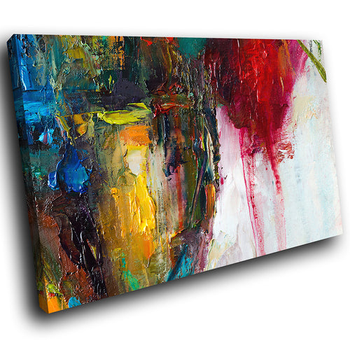 AB1702A Framed Canvas Print Colourful Modern Abstract Wall Art - red white textured paint-Canvas Print-WhatsOnYourWall