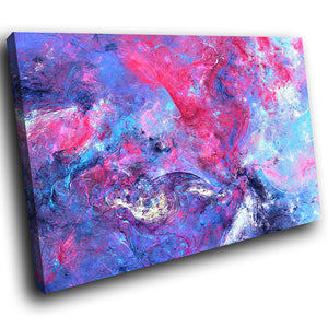 AB1707A Framed Canvas Print Colourful Modern Abstract Wall Art - pink blue texture effect-Canvas Print-WhatsOnYourWall