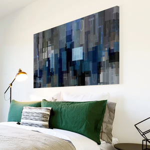 AB1708A Framed Canvas Print Colourful Modern Abstract Wall Art - blue squares-Canvas Print-WhatsOnYourWall