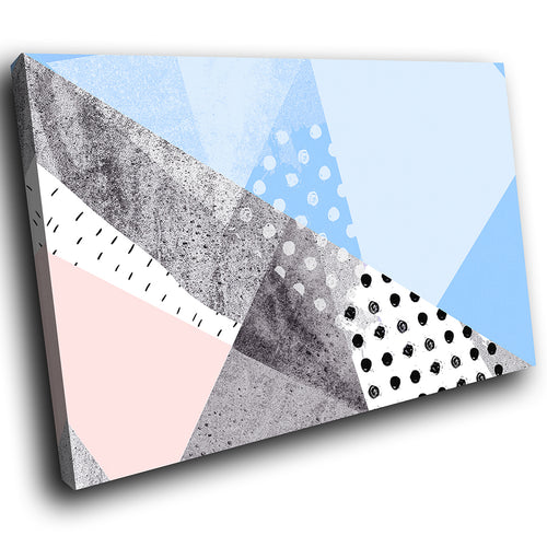 AB1711A Framed Canvas Print Colourful Modern Abstract Wall Art - blue white black spots-Canvas Print-WhatsOnYourWall