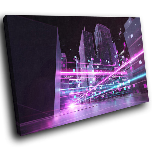 AB1712A Framed Canvas Print Colourful Modern Abstract Wall Art - purple cyber cityscape sky-Canvas Print-WhatsOnYourWall