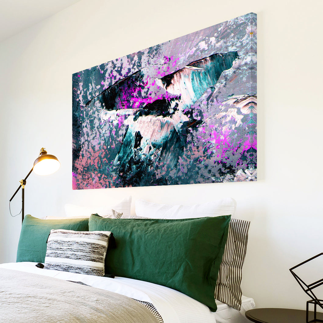 AB1713A Framed Canvas Print Colourful Modern Abstract Wall Art - pink black grunge paint-Canvas Print-WhatsOnYourWall