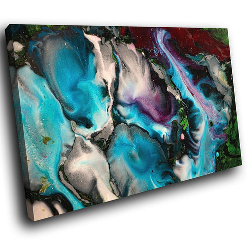 AB1714A Framed Canvas Print Colourful Modern Abstract Wall Art - blue black paint swirl-Canvas Print-WhatsOnYourWall