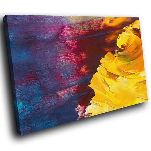 AB1716A Framed Canvas Print Colourful Modern Abstract Wall Art - yellow blue textured paint-Canvas Print-WhatsOnYourWall