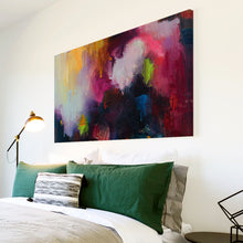 AB1717A Framed Canvas Print Colourful Modern Abstract Wall Art -  black pink textured paint - WhatsOnYourWall