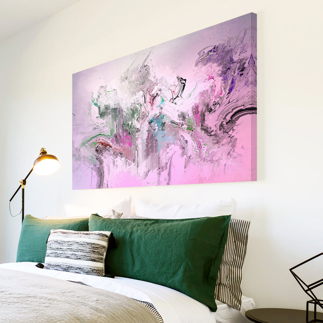 AB1718A Framed Canvas Print Colourful Modern Abstract Wall Art - pink grunge paint-Canvas Print-WhatsOnYourWall