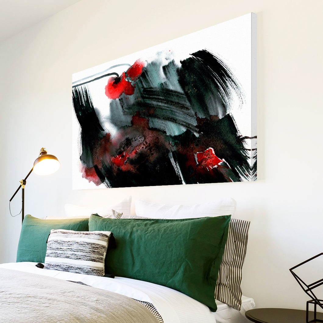 AB1719A Framed Canvas Print Colourful Modern Abstract Wall Art - black red flower-Canvas Print-WhatsOnYourWall