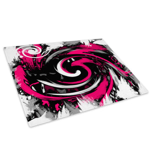 Pink Black Spiral Glass Chopping Board Kitchen Worktop Saver Protector - AB171-Abstract Chopping Board-WhatsOnYourWall