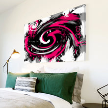 AB171 Framed Canvas Print Colourful Modern Abstract Wall Art - Pink Black Spiral-Canvas Print-WhatsOnYourWall