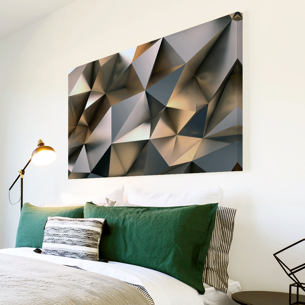AB1722A Framed Canvas Print Colourful Modern Abstract Wall Art - grey effect geometric-Canvas Print-WhatsOnYourWall
