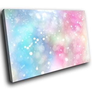 AB1724A Framed Canvas Print Colourful Modern Abstract Wall Art - pink blue sparkle glow-Canvas Print-WhatsOnYourWall